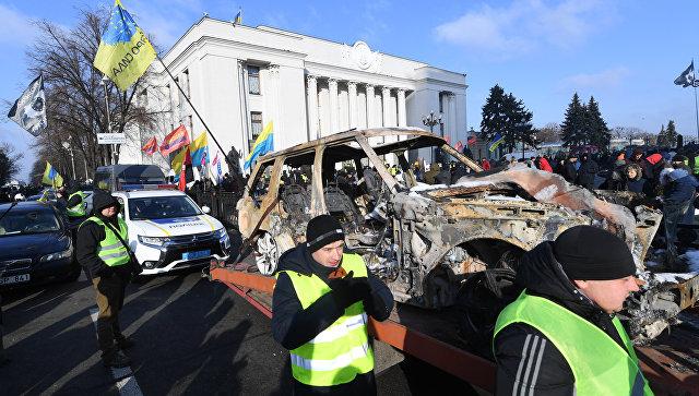 Владельцы автомобилей с регистрацией в странах ЕС во время митинга в Киеве, Украина. 20 ноября 2018
