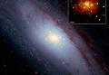 Центр галактики Туманность Андромеды (М31) в видимом и рентгеновском диапазоне