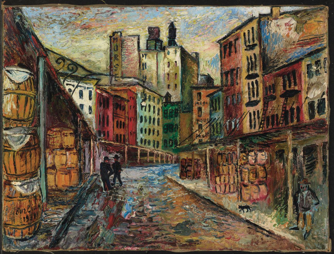 Русские торги Кристис: Давид Бурлюк. «Вашингтонский рынок. Трибека», 1931 год. Эстимейт: $40,000-60,000