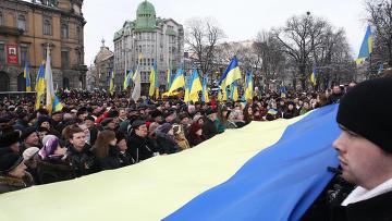 Празднование Дня соборности Украины во Львове. Архивное фото.