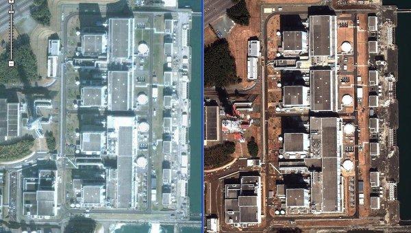 Спутниковая съемка последствий землетрясения на АЭС Фукусима-2