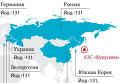 Страны, где обнаружены неопасные следы радиации из Японии