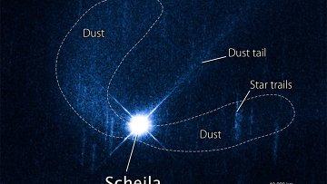 Астероид Шейла и его пылевые хвосты глазами телескопа Хаббл