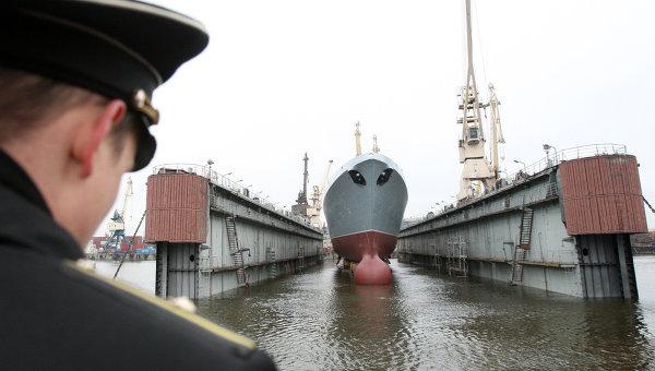 Спуск на воду фрегата ВМФ РФ на ОАО Северная Верфь в Санкт-Петербурге. Архивное фото