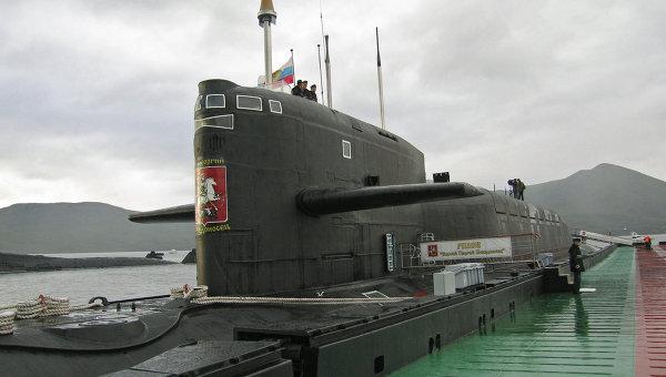 Ракетный подводный крейсер стратегического назначения Святой Георгий Победоносец на базе подводных лодок Тихоокеанского флота в бухте Крашенинникова на Камчатке. Архивное фото