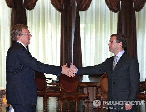 Президент РФ Д.Медведев провел встречу с министром финансов РФ А.Кудриным