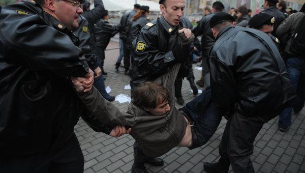 Полиция задержала участников несанкционированной акции в Москве