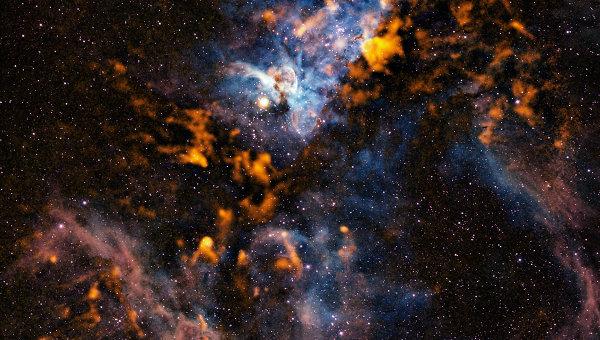 Комбинированное изображение туманности Киля, с учетом инфракрасного, оптического и ультрафиолетового диапазона
