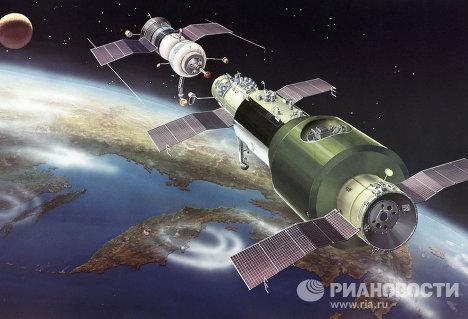 Стыковка корабля Союз-10 со станцией Салют