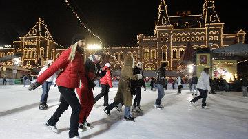 Празднование Дня студента на катке на Красной площади