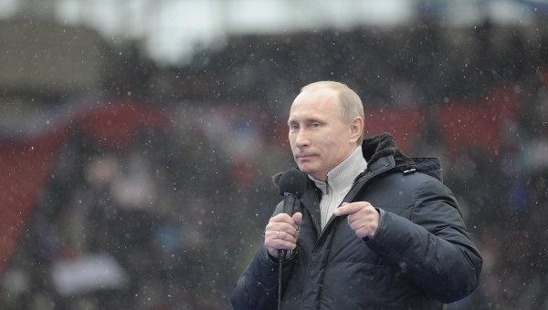 Премьер-министр РФ В.Путин выступил на митинге своих сторонников Защитим страну!