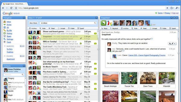 Cервис Google Wave, предназначенный для общения и обмена файлами в режиме реального времени при помощи браузера