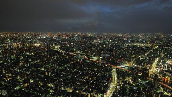 Вид ночного Токио, архивное фото