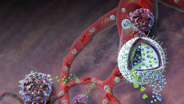 Гелевые наночастицы прорывают оборону раковой опухоли. Рисунок художника