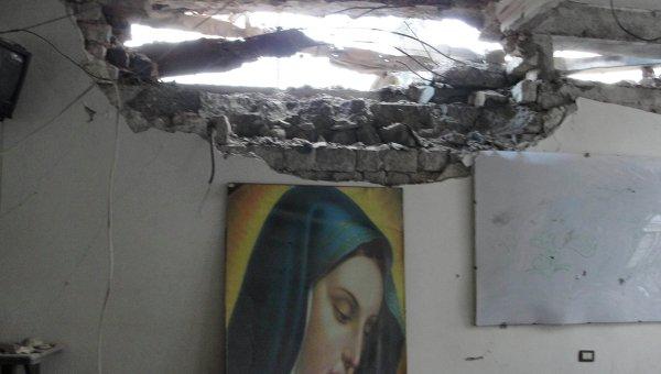 Разрушенная церковь в городе Хомс