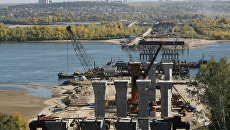 Строящийся третий автомобильный мост через Обь в Новосибирске