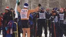 Новосибирский  участник Лыжни России вышел на трассу с голым торсом