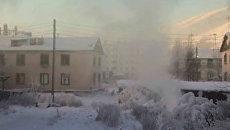 Здания и деревья в Сусумане покрылись инеем в 50-градусный мороз