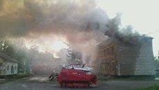 Ликвидация пожара на месте взрыва в воинской части в Башкирии