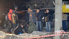 Место взрыва на Мичуринском проспекте в Москве