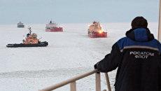 Ледовая проводка атомным ледоколом Вайгач судов в Финском заливе. Архив