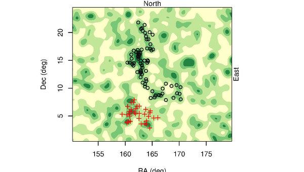 Карта скопления квазаров Huge-LQG в созвездии Льва