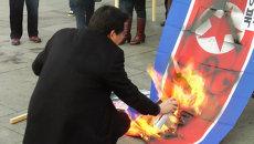 Южнокорейцы резали и жгли флаг КНДР, протестуя против ядерных испытаний