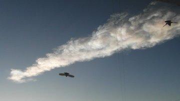 Шлейф дыма в небе над Челябинском