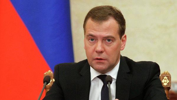 Председатель правительства РФ Дмитрий Медведев на заседани правительства РФ