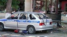 Смертница подорвала машину полиции. Кадры с места теракта в Махачкале