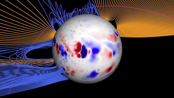 Схема магнитного поля Солнца вдоль траектории кометы Лавджоя