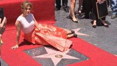 Джей Ло пришла на открытие звезды на Аллее славы с детьми и бойфрендом