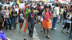 Акция протеста у стадиона Маракана в Бразилии. Архив