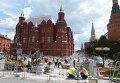 Замена тротуарной плитки на Манежной площади Москвы