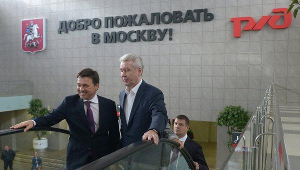 Андрей Воробьев и Сергей Собянин на открытии Ленинградского вокзала в Москве