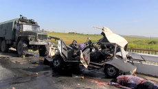 Последствия ДТП с военным Уралом в Забайкалье, в котором погибли шестеро