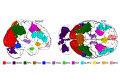 """Карта регионов мозга, в которых расположены части """"центра воображения"""""""