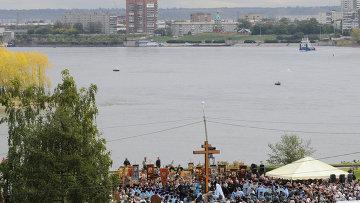 Камень и крест установили на месте строительства собора в Красноярске, архивное фото