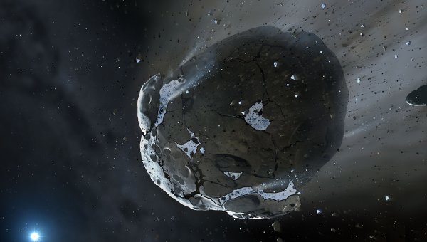 Водный астероид, устремляющийся к белому карлику. Архивное фото.