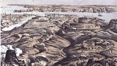 Репродукция литографии Общий вид укреплений русских и союзных войск в 1854 году, созданной в 50-е годы 19-го века