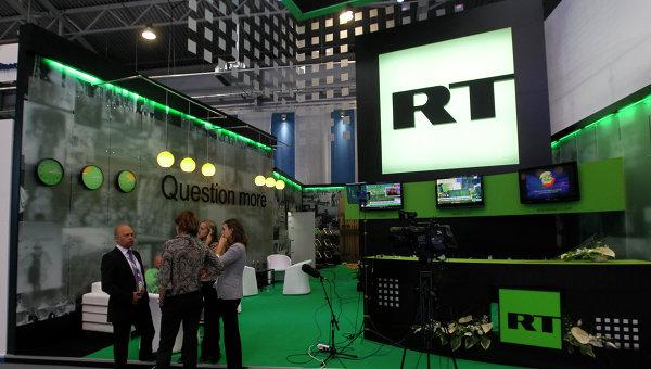 Стенд канала Russia Today, архивное фото