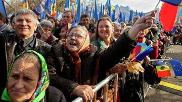 Митинг за интеграцию с ЕС в Кишиневе, Молдова
