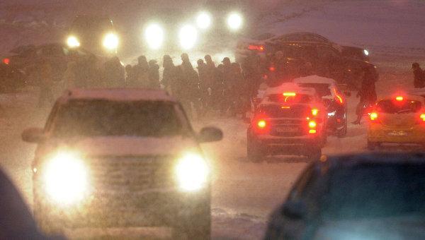 Обильный снегопад в Москве. Архивное фото