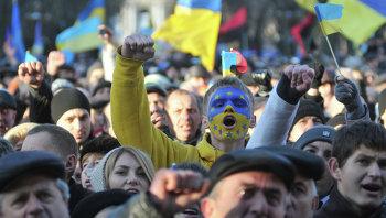 Митинг сторонников евроинтеграции во Львове