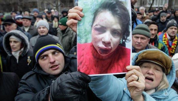 Пикет возле здания МВД Украины из-за избиения журналистки Татьяны Чорновол, фото с места события