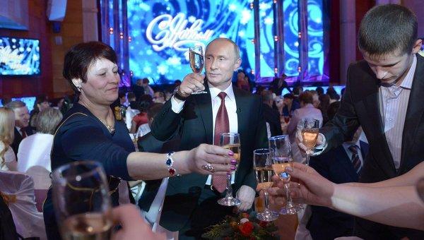 Президент России на новогоднем приеме во дворце культуры в Хабаровске