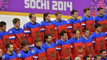 Игроки во время тренировки сборной России по хоккею. Архивное фото