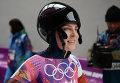 Елена Никитина (Россия) на финише в третьем заезде на соревнованиях по скелетону среди женщин
