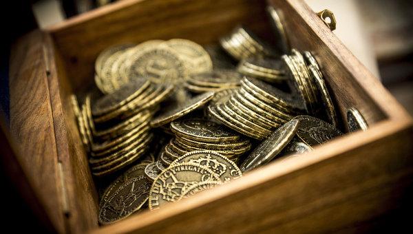 Ящик с монетами. Арихвное фото