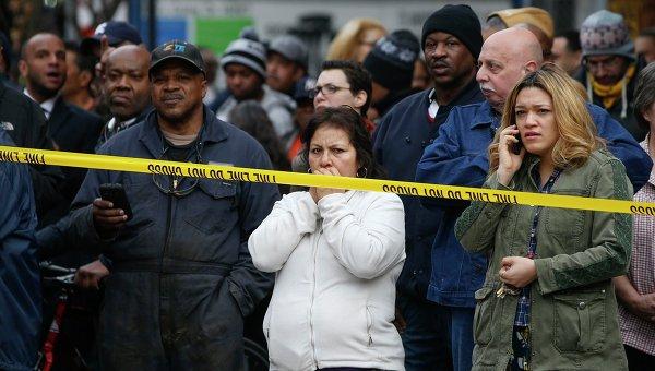 На месте взрыва здания в Нью-Йорке